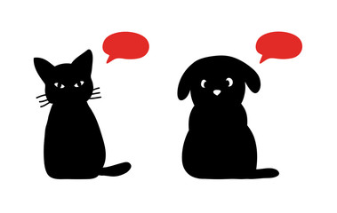 cat and dog silhouettes with talking bubbles