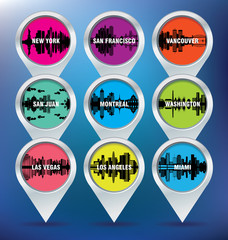 Map pins with New York, San Francisco, Vancouver, Puerto Rico, M