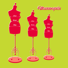 vector vintage tailor's mannequin with size dimensions