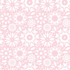 vector light pink abstract flowers seamless pattern background