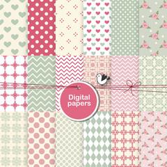 Pattern seamless background - set of design elements