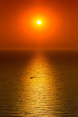 Red sunset over calm sea