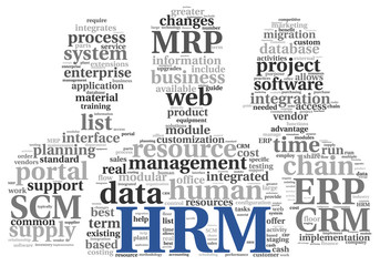 HRM Human resource management concept in tag cloud