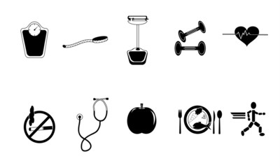 Black and White Healthy Lifestyle Set