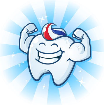 Tooth Mascot Muscle Man Dental Cartoon Character