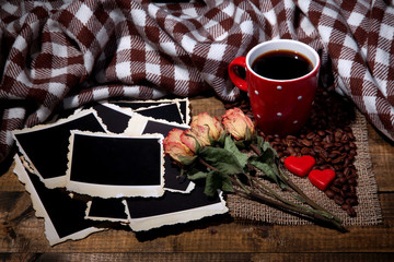 Composition with coffee cup, decorative hearts, plaid spices