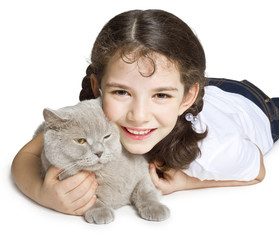 Smiling girl and cat on white background