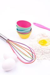 flour, egg, whisk