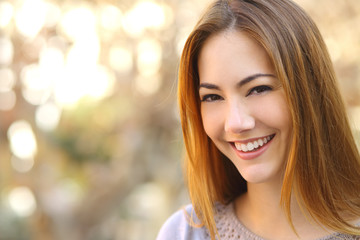 Portrait of a beautiful happy woman with a perfect white smile