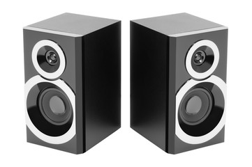 Two speakers isolated on white background