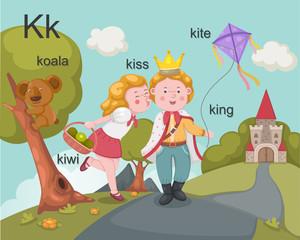 Alphabet.K letter.koala,kiss,k iwi,king,kite.