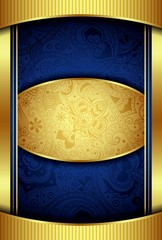 Abstract Gold and Blue Menu