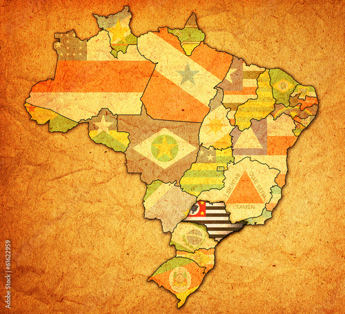 Sao Paulo State Map.Sao Paulo State On Map Of Brazil Stock Photo And Royalty Free
