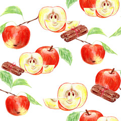 Watercolor with red apples and cinnamon.