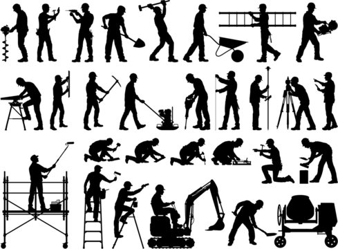 Construction workers vector silhouettes