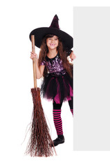 halloween witch holding the blank on white background