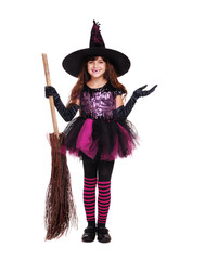 halloween witch holding witch broom