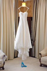Wedding Dress at Hotel Room
