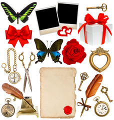 collection of various objects for scrapbook