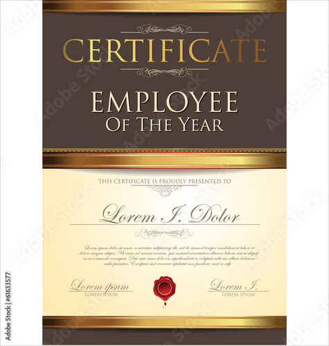 employee of the year certificate free template - certificate template employee of the year stock image
