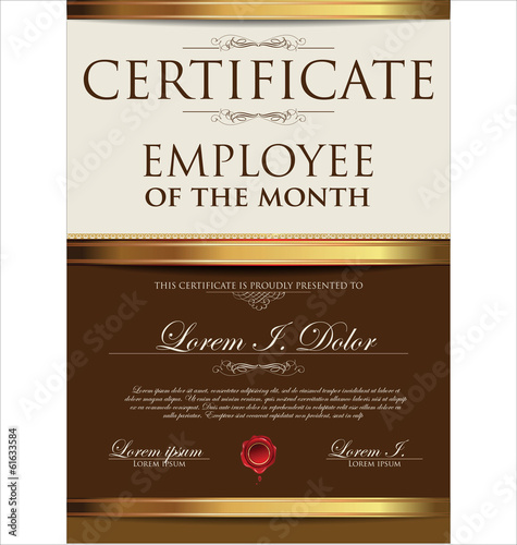 Certificate template employee of the month stock image and certificate template employee of the month pronofoot35fo Image collections