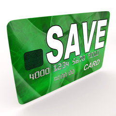 Save Bank Card Shows Savings Account And Money Reserves