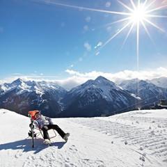 Rest girl on mountains ski resort - Alps Austria