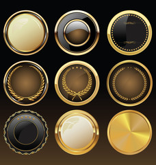 Vector Badges of Gold and black Seal Set