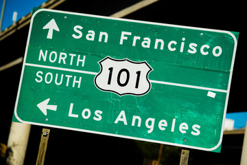 A green US 101 North/South highway sign