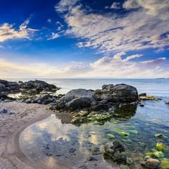 sea shore landscape with boulders