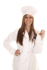woman baker stand smile hand up