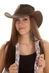 woman flower vest hat close smile