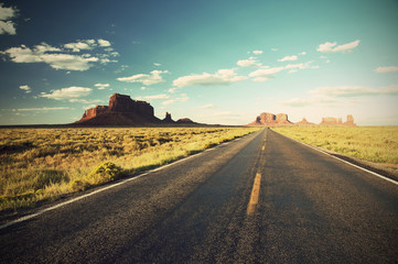 Highway 163 Monument Valley at sunset, USA, vintage style