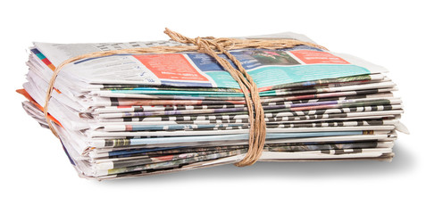 Stack Of Newspapers Bandaged Rope