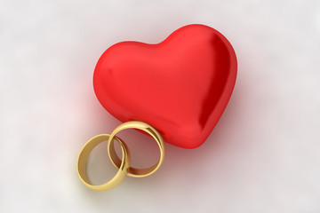 Wedding rings and heart