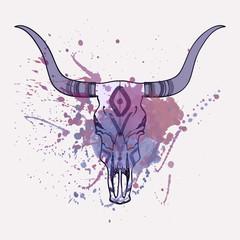 Poster Aquarel Schedel Vector illustration of bull skull with watercolor splash