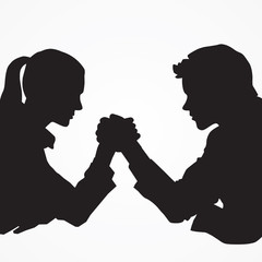 Silhouette, arm wrestling