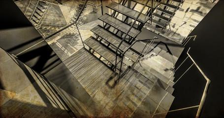 Station. Modern industrial interior, stairs, clean space in indu
