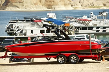 Red Speedboat on Trailer