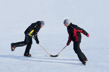 Twins playing ice hockey