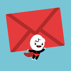 Superhero cartoon lifting an mail envelope