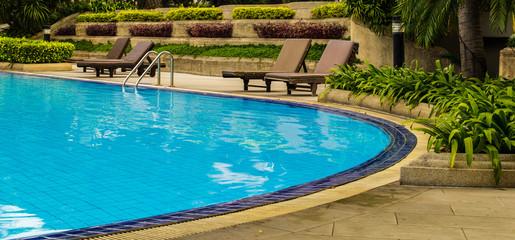 Swimming pool inside garden