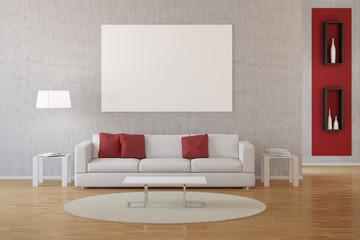 Interior von Wohnzimmer mit Sofa und Leinwand