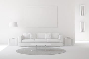 Wohnzimmer als Raum in weiß
