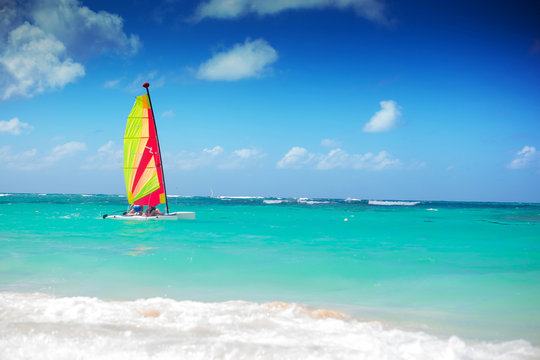 catamaran sailing in the caribbean sea