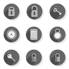 Fototapeta zamki kłódki klucze płaski zestaw ikon
