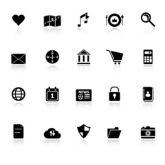 General application icons with reflect on white background