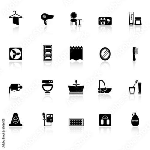Bathroom Icons With Reflect On White Background Stock Image And