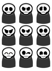 grim reaper cartoon set