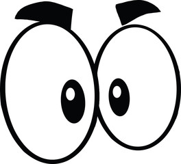 Black And White Mad Cartoon Eyes  Illustration Isolated on white